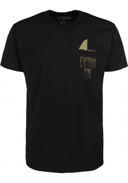 Captain Fin T-Shirts Shark Fin Premium Pocket black-green Vorderansicht