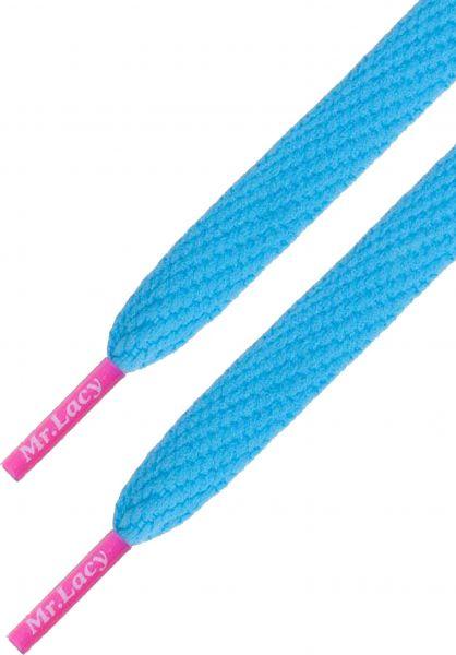 Mr. Lacy Schnürsenkel Flatties Colored Tips blue-neonpink vorderansicht 0640015