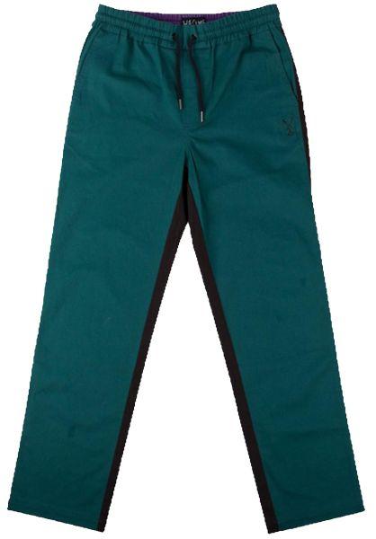 Welcome Chinos und Stoffhosen Dark Wave Split-Color Elastic Pant black-darkteal vorderansicht 0204077