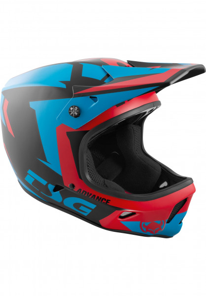 TSG Fullface-Helme Advance Graphic Design buzz-red-blue Vorderansicht