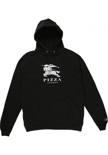 Pizza Skateboards Hoodies Berry x Champion black vorderansicht 0446359