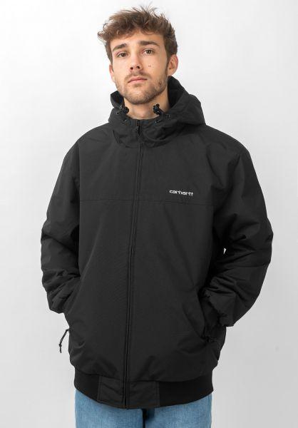 Carhartt WIP Winterjacken Hooded Sail Jacket black-white vorderansicht 0502045