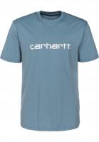 Carhartt WIP T-Shirts Script OG dustyblue-white Vorderansicht