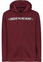 Independent Zip-Hoodies Bar Cross wine Vorderansicht