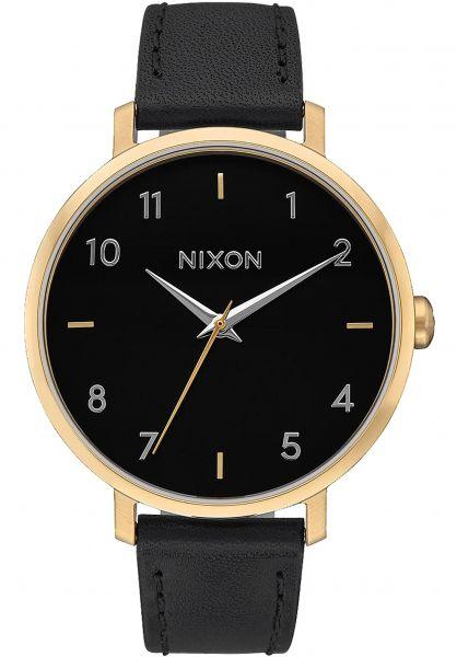 Nixon Uhren Arrow Leather gold-black Vorderansicht