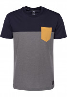 iriedaily T-Shirts Block Pocket navy-yellow Vorderansicht