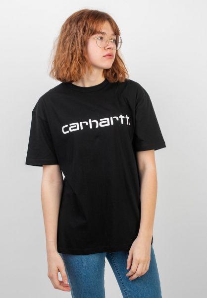 Carhartt WIP T-Shirts W' S/S Script black-white vorderansicht 0035956