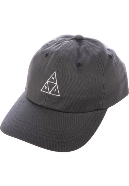 Triple Triangle Curved Visor Dad Hat HUF Caps in charcoal for Men ... a0671a5644b