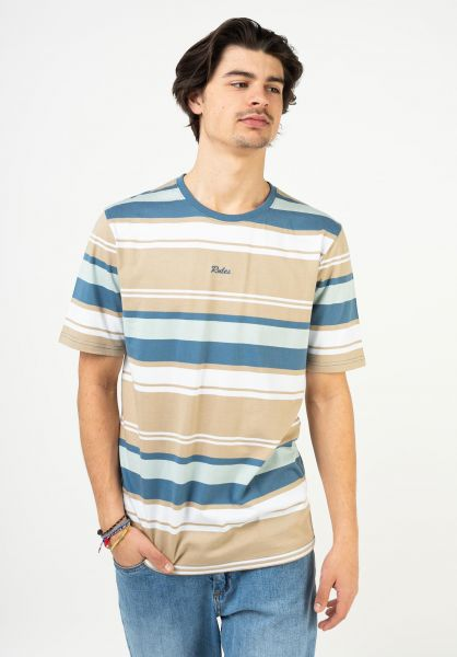 Rules T-Shirts Alejo blue-beige-striped vorderansicht 0321924