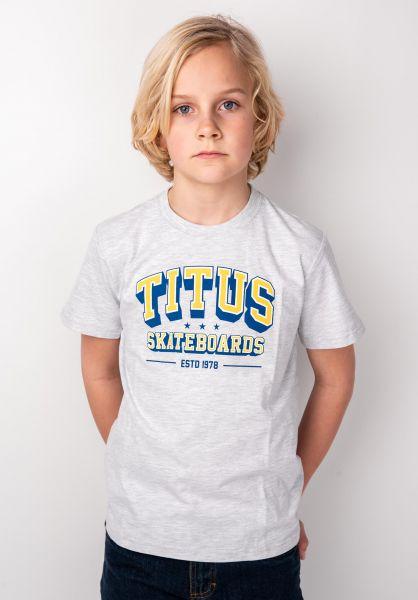 TITUS T-Shirts College Script Kids lightheathergrey vorderansicht 0398396