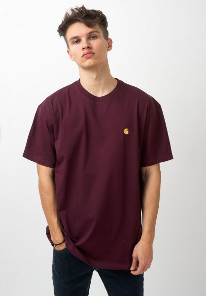 Carhartt WIP T-Shirts Chase shiraz-gold vorderansicht 0396618