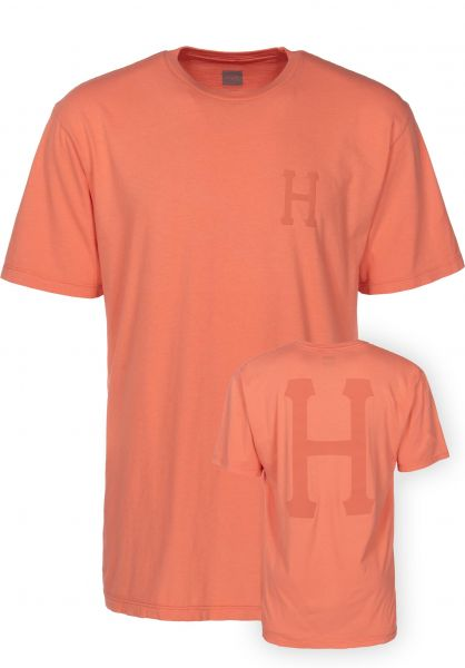 HUF T-Shirts Over-Dye Classic H coralhaze Vorderansicht