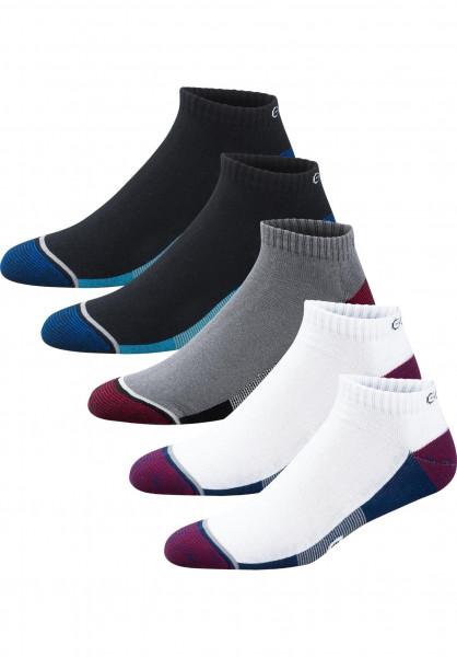 Globe Socken Evan Ankle Sport 5 Pack white-navy-black Vorderansicht
