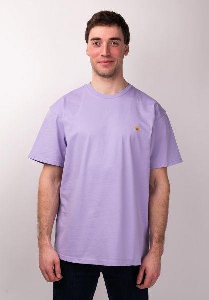 Carhartt WIP T-Shirts Chase softlavender-gold vorderansicht 0396618