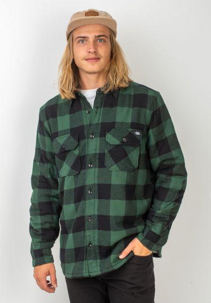 Dickies Hemden langarm Lansdale Sherpa pinegreen vorderansicht 0411924