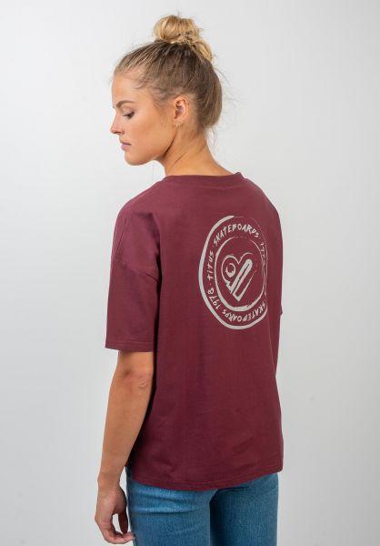 TITUS T-Shirts Jules Backprint darkburgundy vorderansicht 0399312