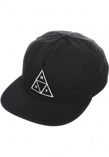 HUF Mens Triple Triangle Snapback Hat Black
