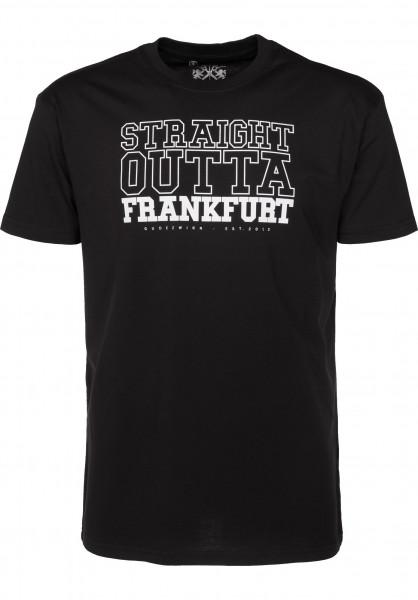 GUDE T-Shirts Straight Outta Frankfurt black Vorderansicht
