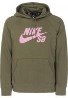 Nike SB Hoodies SB Icon mediumolive-elemental-pink Vorderansicht