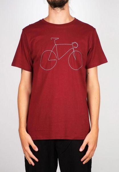 Dedicated T-Shirts Stockholm Bicycle burgundy vorderansicht 0399368