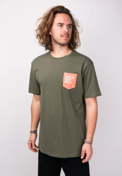 TITUS T-Shirts Quote Pocket olive vorderansicht 0398350