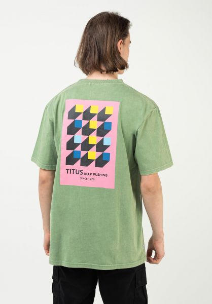 TITUS T-Shirts Abel green-acidwashed vorderansicht 0321929