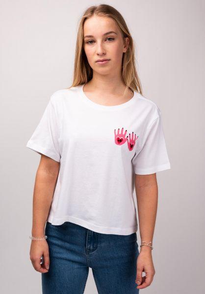 Element T-Shirts Love Hand Crop white vorderansicht 0399075