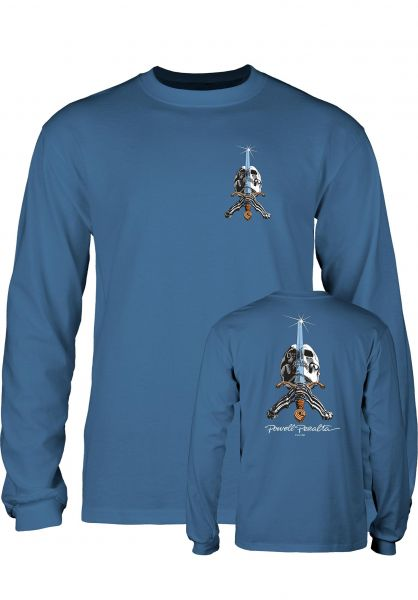Powell-Peralta Longsleeves Skull & Sword slate-blue Vorderansicht