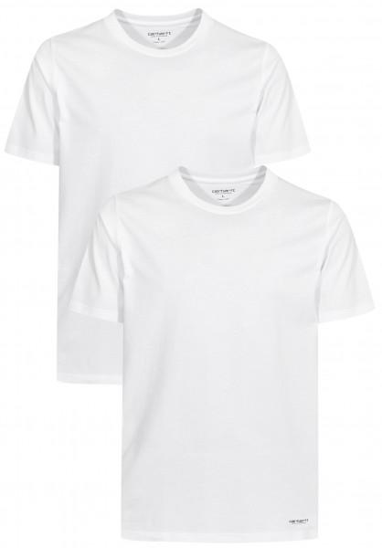Carhartt WIP T-Shirts Standard Crew Neck (Doppelpack) white-white Vorderansicht