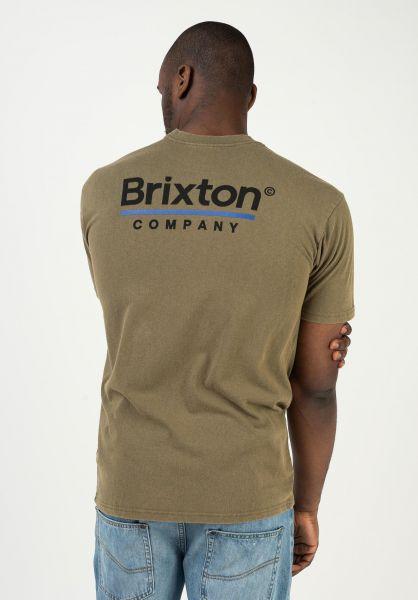 Brixton T-Shirts Palmer Line wornwash-militaryolive vorderansicht 0323174