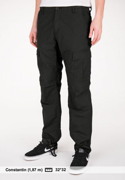 Carhartt WIP Cargohosen Aviation Pant (Columbia) blackrinsed Vorderansicht