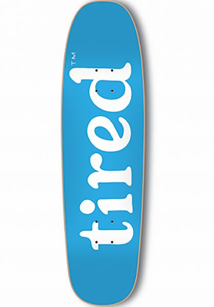 Tired Skateboard Decks Lowercase Logo on Chuck blue Vorderansicht