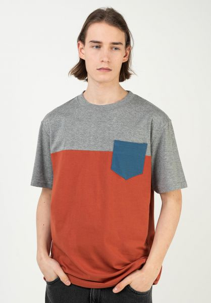 TITUS T-Shirts Colourblock Pocket greymottled-burnt ochre-stellar vorderansicht 0398349