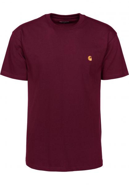 Carhartt WIP T-Shirts Chase mulberry-gold Vorderansicht