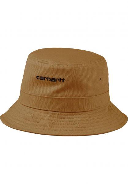 Carhartt WIP Hüte Script Bucket Hat hamiltonbrown-black vorderansicht 0580362