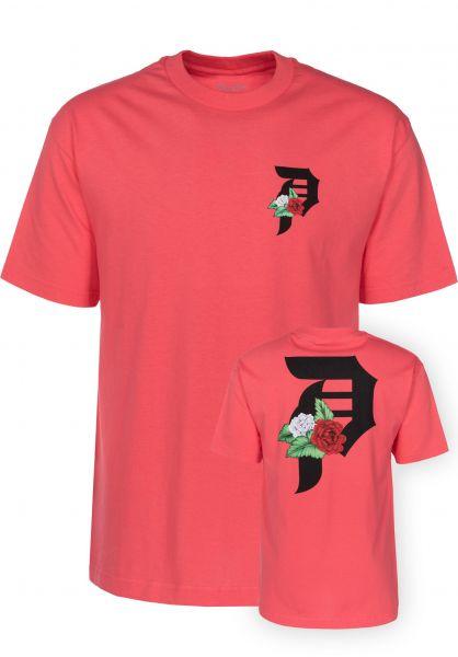 Primitive Skateboards T-Shirts Dos Flores coral Vorderansicht