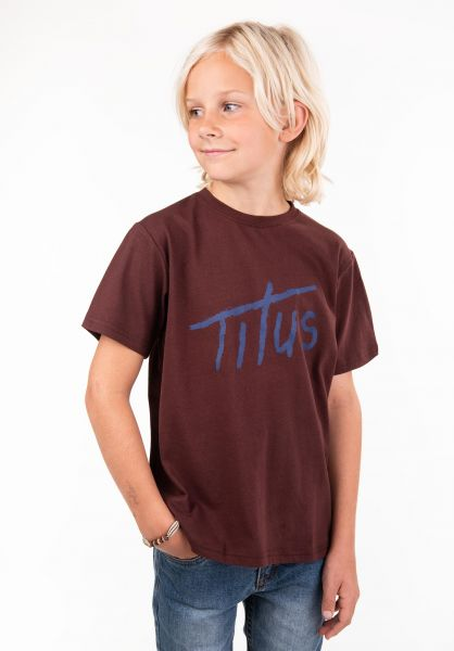 TITUS T-Shirts Brushed Letters Kids deepburgundy vorderansicht 0397392