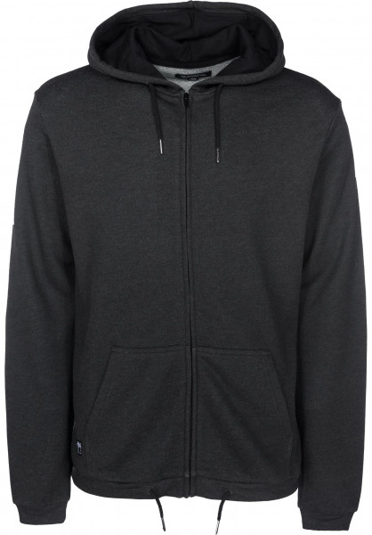 Mahagony Zip-Hoodies Tree Ball blackmelange Vorderansicht