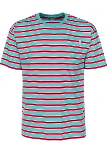 Polar Skate Co T-Shirts Striped Pocket mint-coral-red Vorderansicht