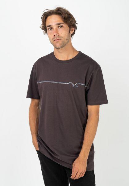Cleptomanicx T-Shirts Möwe Lines darkchocolate vorderansicht 0399749