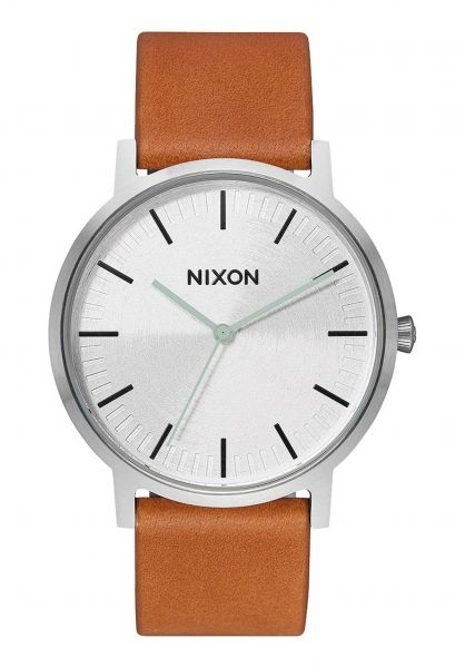 Nixon Uhren The Porter Leather silver-tan vorderansicht 0810342