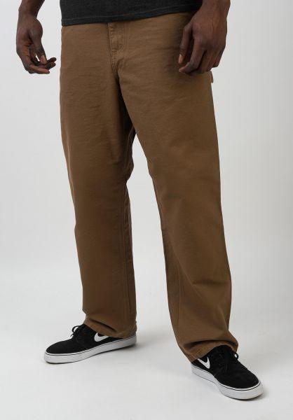 Carhartt WIP Chinos und Stoffhosen Single Knee Pant hamiltonbrownrinsed vorderansicht 0540249