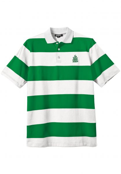 New-Deal Polo-Shirts Stripped green-white vorderansicht 0138428