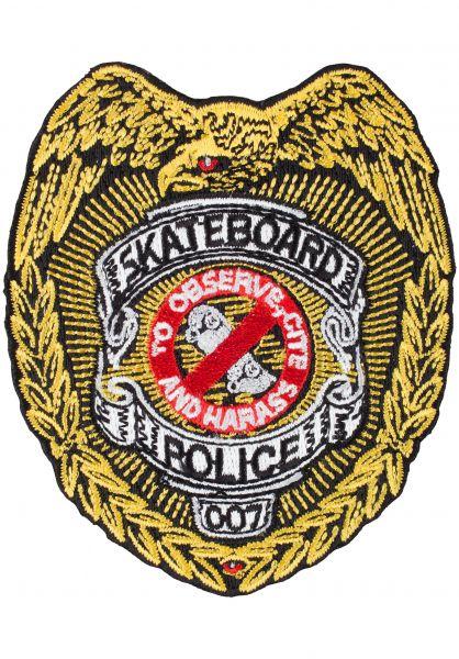 """Powell-Peralta Verschiedenes Skateboard Police 3.5"""" gold vorderansicht 0971808"""
