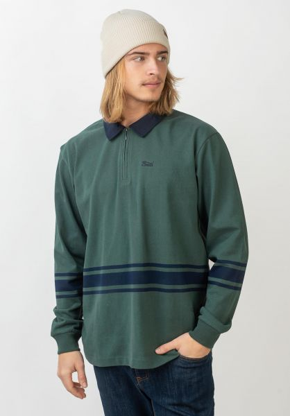 Brixton Polo-Shirts Stith 1/4 Zip Polo emerald-washednavy vorderansicht 0138409