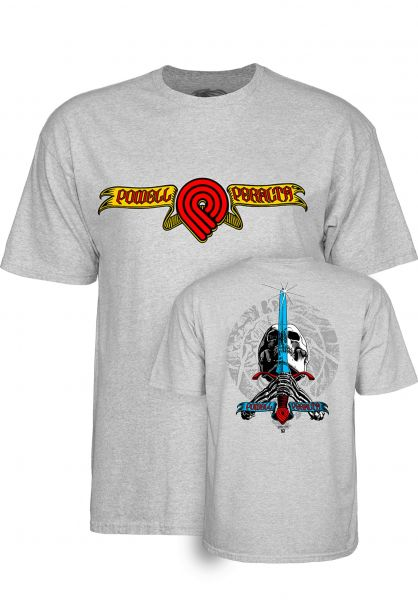 Powell-Peralta T-Shirts Triple P Skull and Sword athleticheather vorderansicht 0320228