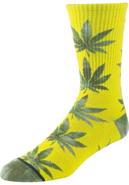 HUF Socken Tie Dye Leaves Plantlife blazingyellow vorderansicht 0631873