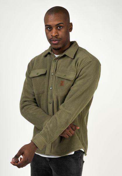 Brixton Hemden langarm Bowery Fleece militaryolive vorderansicht 0412062