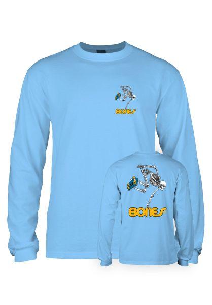 Powell-Peralta Longsleeves Skateboard Skeleton Kids carolina-blue vorderansicht 0382832