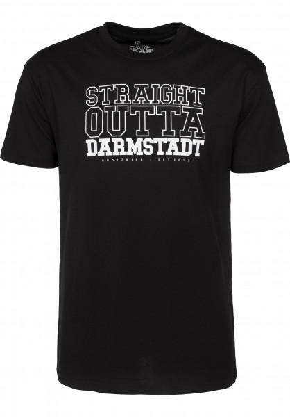 GUDE T-Shirts Straight Outta Darmstadt black Vorderansicht